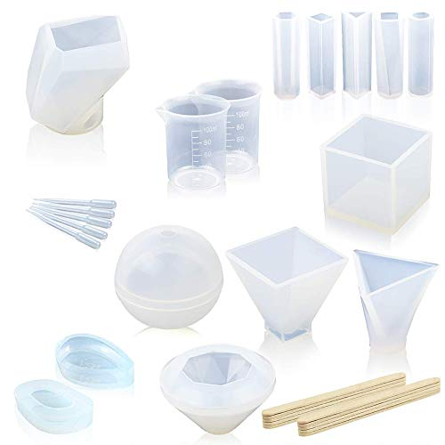 Resin Molds, Epoxy Resin Molds,Large Resin Clear DIY Silicone Molds for Casting Resin, Soap, Wax etc, Epoxy Resin Mold Including Cube, Pyramid, Sphere, Diamond, Stone Resin Mold, with Measuring Cups
