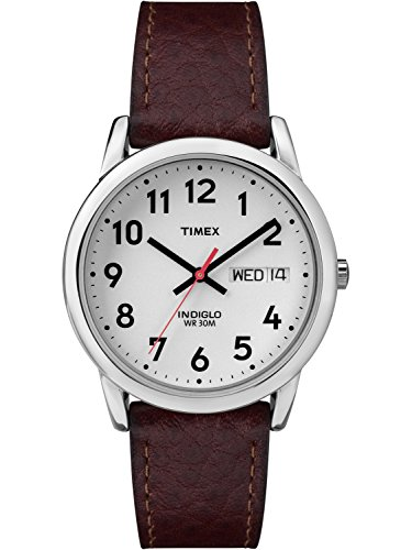 Timex Men's Easy Reader Watch, Brown Textured Leather Strap Dad Gift Fathers ()