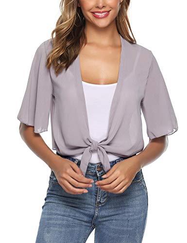 iClosam Women Half Sleeve Tie Front Chiffon Bolero Shrugs Open Front Cardigan (Grey, X-Large)