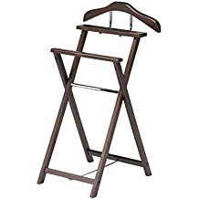 Kings Brand Kings Brand Walnut Finish Solid Wood Suit Valet Rack Stand Organizer