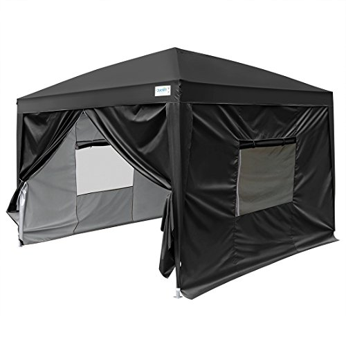 Quictent Upgraded 10x10 EZ Pop Up Canopy Tent Instant Folding Party Tent Photo Booth with Sidewalls Waterproof Black