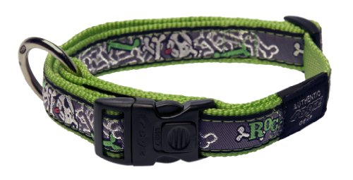 Rogz Fancy Dress Large 3/4-Inch Beachbum Dog Collar, Lime Bone Design