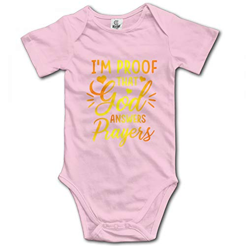 NKZSUX Baby Girls Boys Funny Short Sleeve Infant Baby Onesies I'm Proof That God Answers Prayers Baby Outfits 6M ()