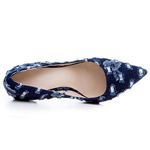de 38 Zapatos Mujer EU Denim Aguja sin Tacon 12cm2239Dark Cerrado Puntiagudo Cordones Mezclilla COOLCEPT Blue Moda TaXg7CCq