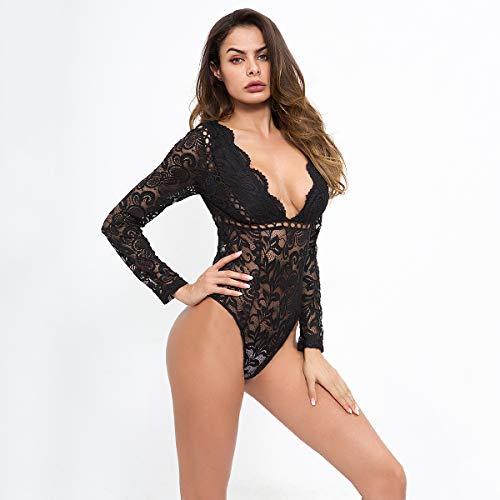 bianca Body Pizzo Manica Estivi Camicie Abbigliamento Donna Top Tuta V Bodysuit Blusa Sexy Mashikou Lunga Nero Collo ZdqZI