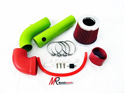 Pickup Injen Air Filter (97 98 99 00 01 02 03 Chevrolet S-10 Pickup Base/LS/LS Xtreme 2.2L GREEN Piping Cold Air Intake System Kit with Red Filter)