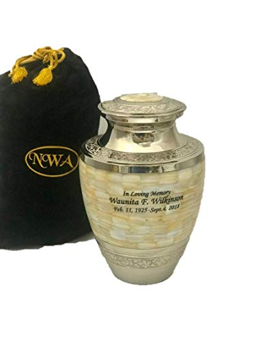 NWA Urn for Human Ashes, Adult Size Brass Mother of Pearl Cremation Urn with Custom Personalized Engraving and Velvet Bag