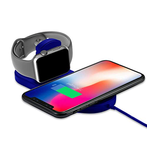 Wireless Charger Compatible for Watch/Phone, KSWNG 2 in 1 Qi Ultra-Thin Wireless Charger Compatible for Phone X/XS/XR/XS MAX / 8/8 Plus, Watch Series 1/2/3 Blue
