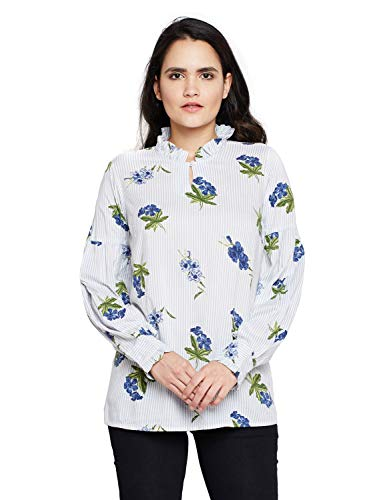 oxolloxo Women #39;s Viscose Full Sleeves Floral Top  White
