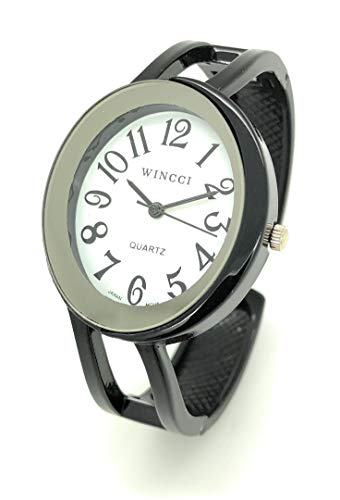 Ladies Elegant Oval Metal Bangle Cuff Fashion Watch White Dial Wincci (Black)