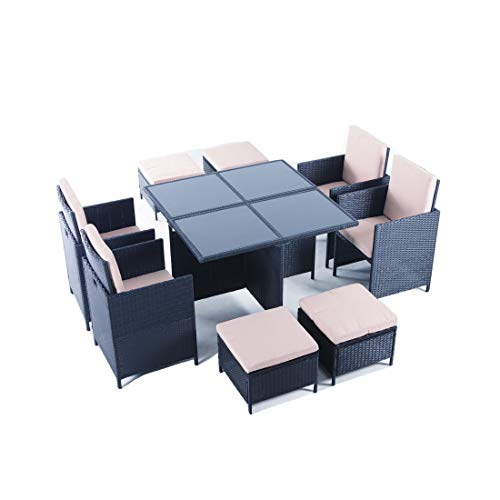 Furniture Garden Cube (United Flame Cube 9 Pieces Indoor/Outdoor Patio Furniture Dinning Set Black Rattan Chair Wicker Set Backyard Lawn Garden Furniture Set with Glass Table and Cushions All Weather RTA Furniture Sets)