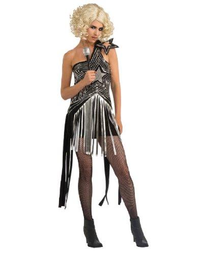 Lady Gaga Star Dress, Silver, Small Costume (Lady Gaga Costume Halloween)