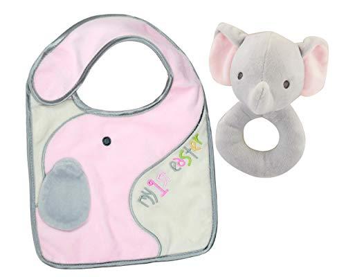 Baby Girls First Easter Keepsake Bundle: 2 Items; 1 Pink Elephant Plush Washable Bib, 1 Soft and Cuddly Plush Elephant Rattle (Pink Elephant)