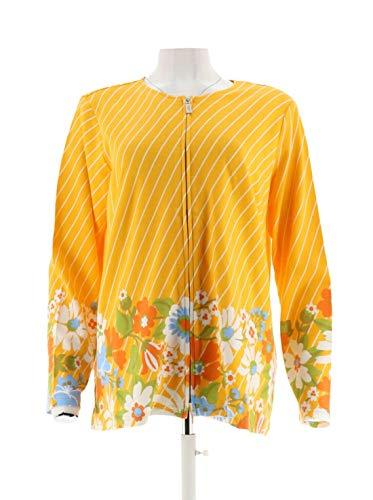 Bob Mackie Diagonal Stripe Multi-Floral Ponte Knit Jacket Yellow S New A288459