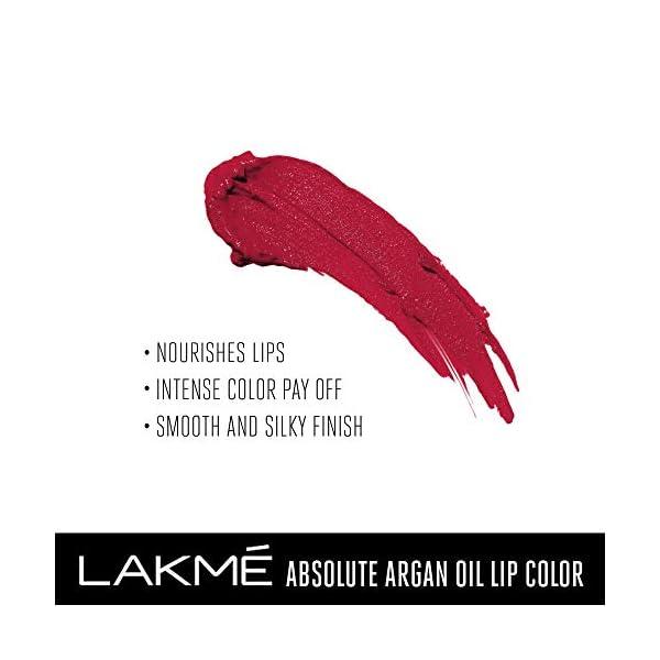 Lakmé Absolute Argan Oil Lip Color, Crimson Silk, 3.4g 2021 July Enriched with Moroccan Argan Oil Intense color payoff Luxurious formula