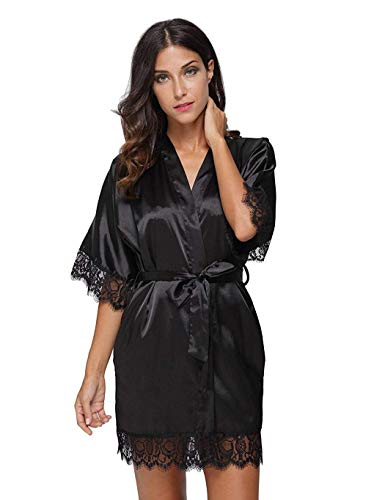 Jaskin Womens Satin Short Kimono Robe Nightdress Sleepwear Bathrobe Nightgown Pajama Party Robe