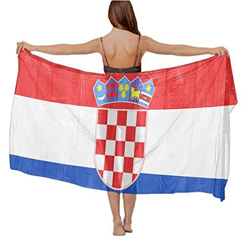 YongColer Soft Lightweight Scarf for Women Evening Dresses Party Travel Beach Swimsuit Wrap Skirt, Croatia Flag Spring Summer Shawl Wrap Sarong