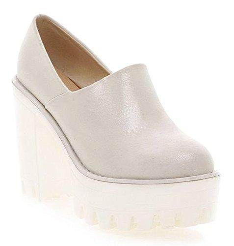 Heel Wide Platform White Pumps Chunky Womens Diffyou Vintage Shoes ZCwxqSAnU