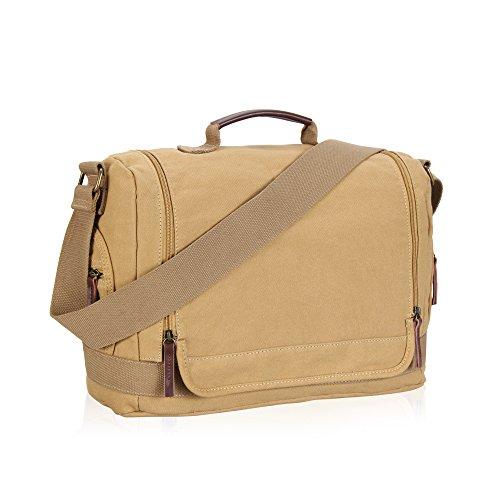 Hynes Eagle Flap Closure Canvas Messenger Bag (Khaki)