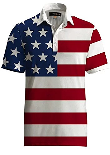 Loudmouth Golf Mens Polo -Fancy Stars & Stripes - Size -