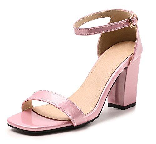Zehen Offene Damen Rosa Aisun mit Fesselriemchen Sandale Schnalle Basic Brautschuhe Blockabsatz q4UtTE