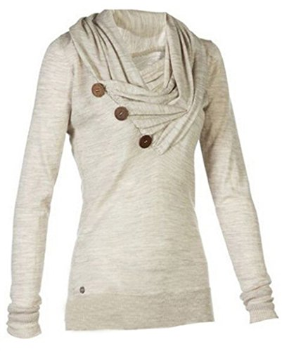 MERRYFUN Women's Sport Casual Long Sleeve Knitted Draped Button Blouse Top, G M ()