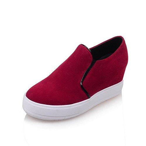 AllhqFashion Damen Mittler Absatz Rein Ziehen auf Mattglasbirne Rund Zehe Pumps Schuhe Rot