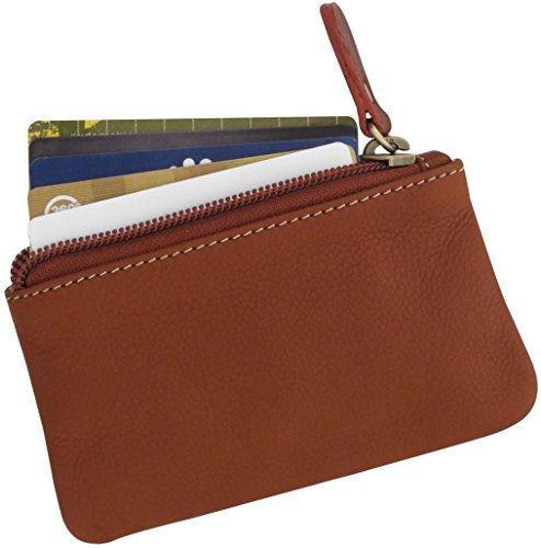Leather Coin Purse With Zipper, Change Wallet, Card Case, Accessory Bag (Brown)
