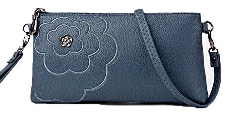 embrague Flores Casual GMXBB180887 Bolsos Bolso Azul de AgooLar Compras cruzados Mujeres Pu qcOwUXY7