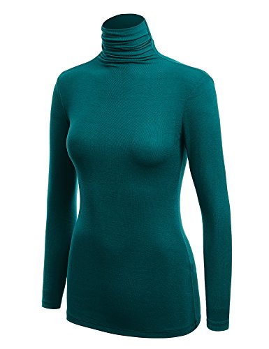 (WSK1030 Womens Long Sleeve Ribbed Turtleneck Pullover Sweater S Teal)