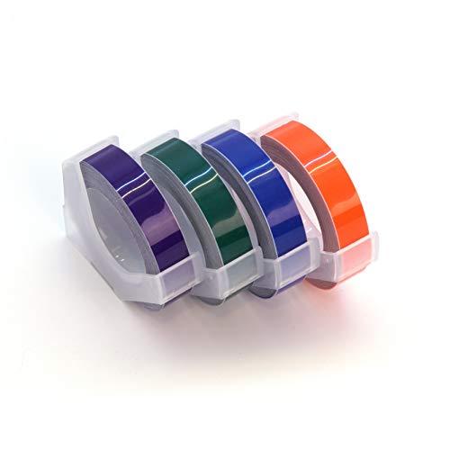 (MoTEX Refill Tape for Embossing Label Maker, 4 Color Tapes, 3/8-Inch (Orange, Ocean Blue, Green, Purple))