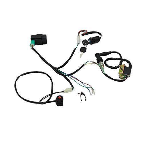 CNCMOTOK Wiring Loom Harness Kill Switch Ignition Coil Cdi Box Spark Plug Rebuild Kit for Kick Start Dirt Pit Bike ATV 50CC 70CC 90CC 110CC-160cc Buggy Go Kart Wire Harness ()