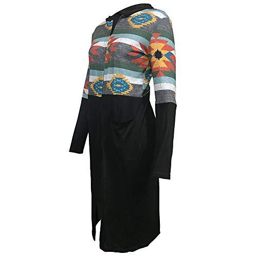 À Manches Longues Cardigan Noir Géométrique Manteau Femme Imprimé Capuche Holywin Patchwork OfIO5