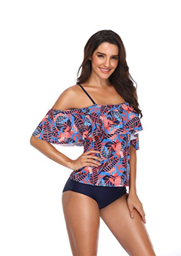 Memory baby Women's Plus Size Floral Tankini Set Two Piece Swimsuit Blue Orange L by Memory baby (Image #1)