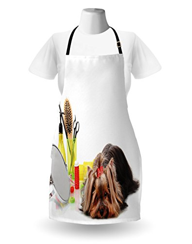 Lunarable Dog Lover Apron, Yorkshire Terrier with Grooming Items Haircut Scissors Mirror Comb Print, Unisex Kitchen Bib with Adjustable Neck for Cooking Gardening, Adult Size, White Yellow 2