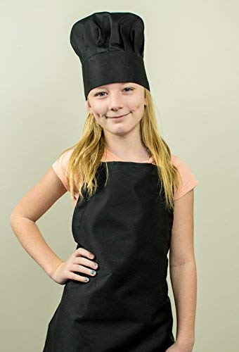 Tessa's Kitchen Kids -Child's Chef Hat Apron Set, Kids Size, Children's Kitchen Cooking and Baking Wear Kit for those Chefs in Training, Size (S 2-5 Year, Black) by Odelia (Image #3)