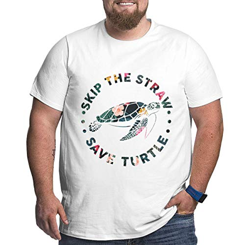 Men Skip A Straw Save A Turtle9 Big & Tall Short Sleeve Cotton Crew Neck Tee White