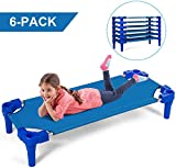 Costzon Kids Stackable Naptime Cot, Toddler Daycare Rest Mat w/Easy Lift Corner Detachable Oxford Cloth, Ready-to-Assemble, Space Saving, Children Preschool Sleeping Cot, Pack of 6