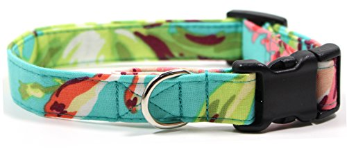 aloha-girl-dog-collar-with-pink-buckle-hawaii-inspired-designer-cotton-dog-collar-adjustable-handmad
