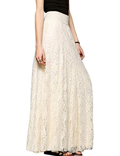 Tanming Women's High Waist A-Line Maxi Lace Skirt (Small, Beige)