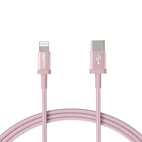 AmazonBasics Nylon Braided USB-C to Lightning Cable, MFi Certified iPhone Charger - Rose Gold, 6-Foot
