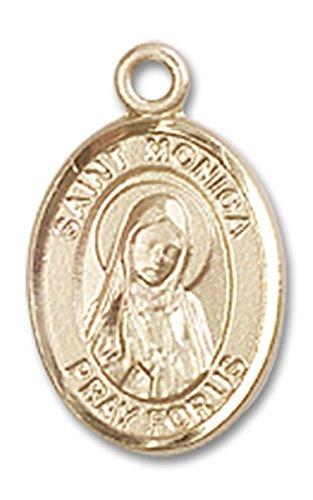 14 Karat Gold Saint Monica Medal Petite Charm Pendant, 1/2 Inch Monica Charm