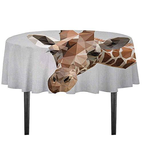 Animal Washable Tablecloth African Safari Wildlife Creature Digital Giraffe Modern Triangles Image Artwork Dinner Picnic Home Decor D51.18 Inch Brown ANG Grey