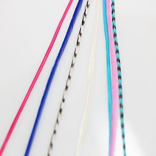 Gorgeous Roses, bleus & Grizzly Remix 10,2cm -18cm plumes en silicone pour extension de cheveux avec 2micro perles et 5plumes