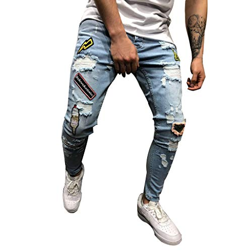 Men's Skinny Ripped Distressed Destroyed Slim Fit Stretch Biker Jeans Teen Boy Fashion Washed Denim Pants with Holes (Blue, ()