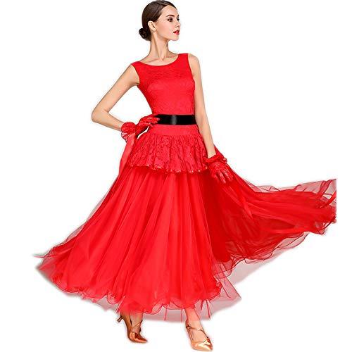 1612702e36fc8 発表会ドレス 素敵レース+リボン付ロングワンピース 最新作入荷レディース社交ダンス衣装 garuda 3色 XL 赤色 XL
