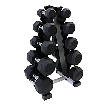 Ader Black Rubber Dumbbell 3,8,12,15,20 Lbs 5 Pair with Rack 116 Lb