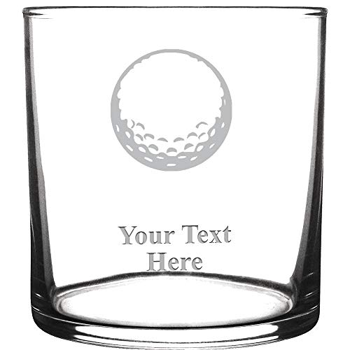 (Personalized Drink Glasses, Golf Ball Engraved Cocktail Glass With Custom Text Great Customizable Gift)