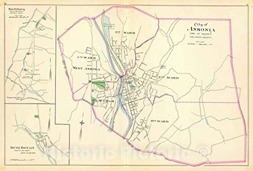 Historic Map   State Atlas Map, Ansonia, Southbury, S. Britain. 1893   Vintage Wall Art   36in x 24in