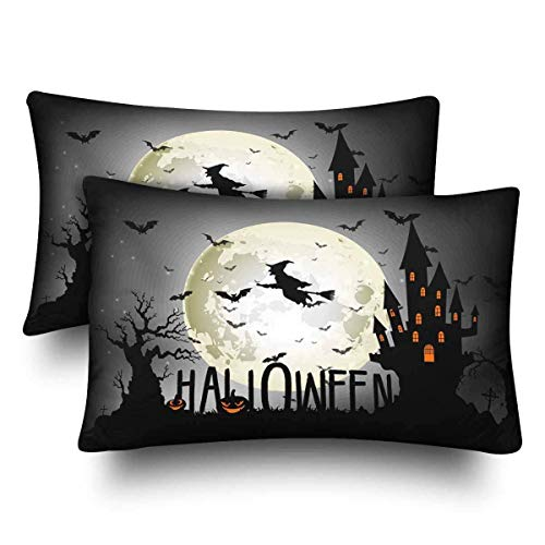 SPXUBZ Halloween Witch Full Moon Castle Bat Home Decor Gift Rectangular Indoor Cotton Pillowcase (Two Sides),2PC